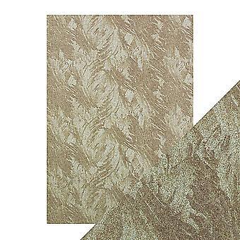 Tonic Studios hantverk perfekt A4 lyx präglade kort, påfågel fjädrar, 30 x 21,5 x 0,5 cm