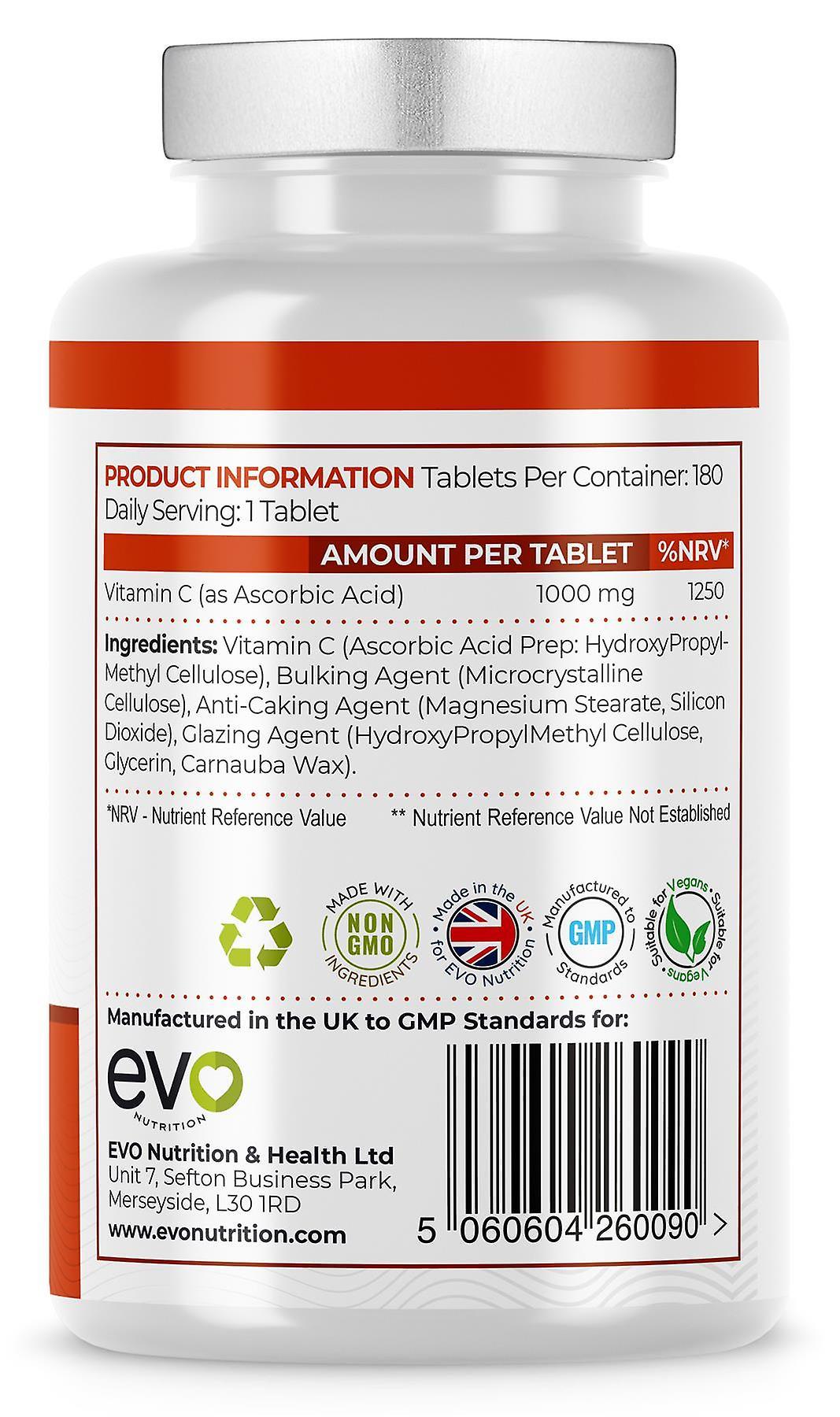 Vitamin C (180 Tablets) 1000mg Maximum Strength - Evo Nutrition