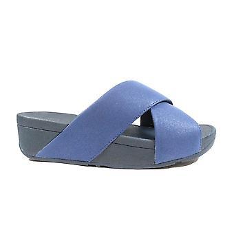 FitFlop Lulu skimmer Slide Navy läder damer slip på mule sandaler