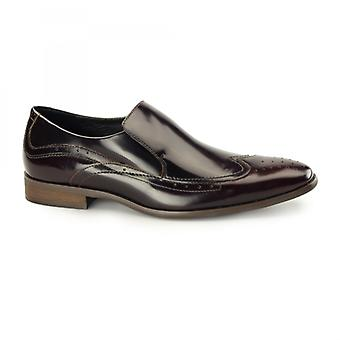 Azor Vicenza Mens Leather Slip On Brogues Rubbed Black/red