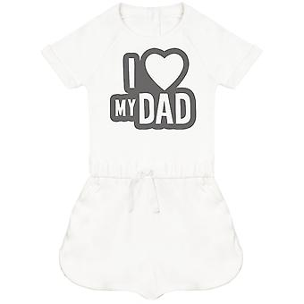 I Love My Dad Black Outline Baby Playsuit