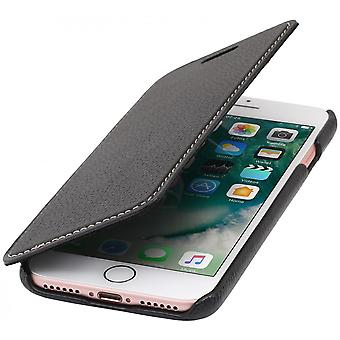 Case For iPhone 8 / IPhone 7 Book Type Black In True Leather Without Closing Clip