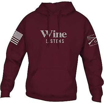 Grunt Style Women's Relaxed Fit Wine Listens Pullover Hoodie - Wine