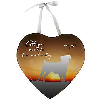 Widdop Bingham All You Need Is Love And A Dog Mirror Plaque