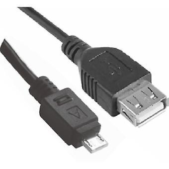 Micro USB male naar USB vrouwelijke OTG adapter converter kabel zwart