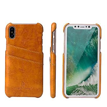 Pour iPhone XS,X Case,Styled Deluxe High-Quality Protective Leather Cover,Jaune