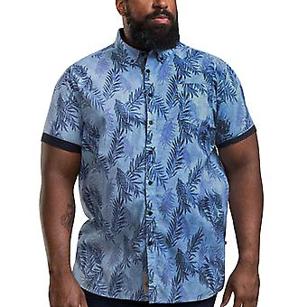 Duke D555 Homme Santana Big Tall Hawaiian Print Collared Shirt Top - Sky Blue