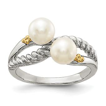 925 Sterling Silver With 14k Polished White Pearl Ring Jewelry Gifts for Women - Ring Size: 6 to 8