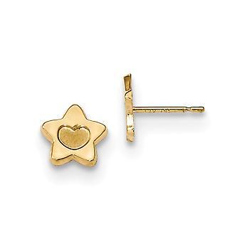 7.5mm 14k Madi K Sateng og polert kjærlighet hjerte i star post øredobber smykker gaver til kvinner