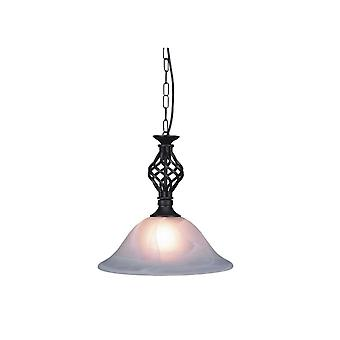 THLC Traditional Knot Twist Ceiling Pendant Light In Black Finish With Alabaster Glass