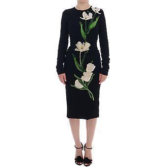 Dolce & Gabbana Black Tulip Print Wool Stretch Dress