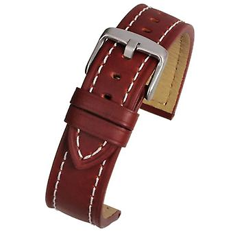 Calf leather watch strap tan with heavy stitching sizes 18mm to 24mm