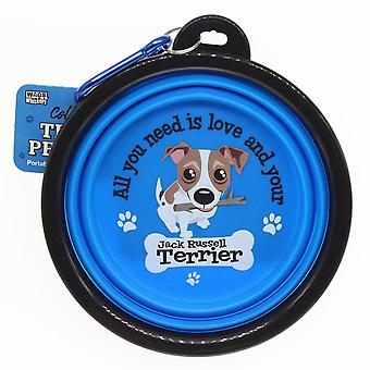 Wags & Whiskers Travel Pet Bowl - Jack Russell Terrier