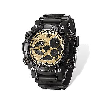 Mens US Navy Wrist Armor C40 Black and Gold Watch