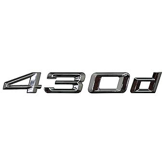 Silver Chrome BMW 430d Car Model Rear Boot Number Letter Sticker Decal Badge Emblem For 4 Series F32 F33 F36 G22 G23 G26