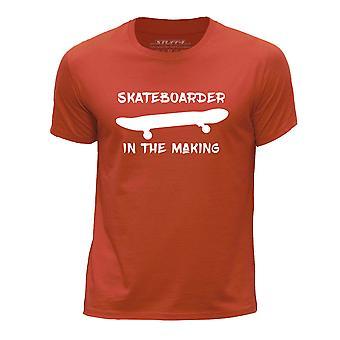 STUFF4 Boy's Round Neck T-Shirt/Skateboarder In The Making/Orange