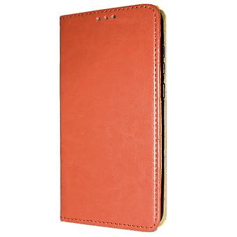 Echtes Leder Buch schlanke Samsung Galaxy A10e Brieftasche Fall braun