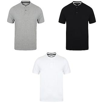 Front Row Mens Stand Collar Stretch Polo Shirt