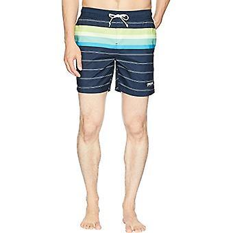 Original Penguin Men's Stripe Elastic Waist Volley Swim Short, Dark Sapphire ...