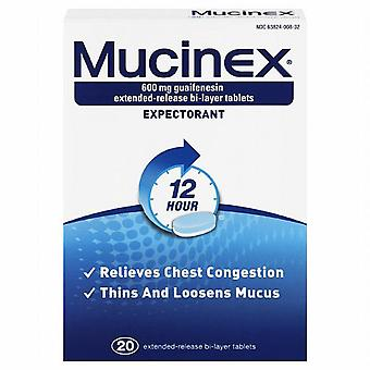 Mucinex expectorant, 600 mg, extended-release bi-layer, tablets, 20 ea