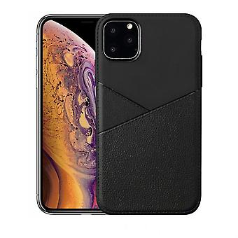 For iPhone 11 Pro Case, Soft TPU + PU Leather Back Cover, Black