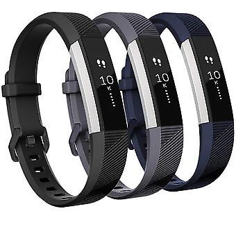 Fitbit alta/alta HR ranne koru silikoni-3-pakkaus (S)-musta/harmaa/sininen