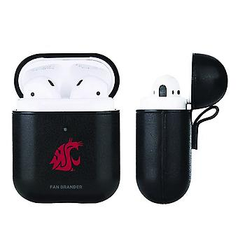 Washington State Cougars NCAA Fan Brander Zwart Lederen AirPod Case