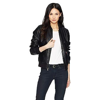 Levi's Femei's Two-Pocket Faux Leather Hooded Bomber, Negru, Dimensiune X-Mare