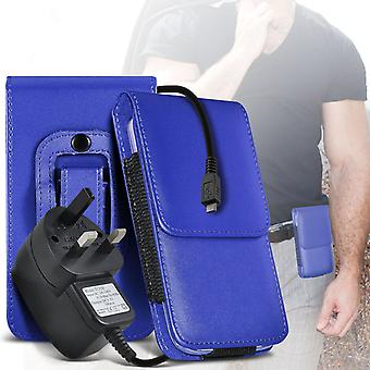 (Blue) Case For Xiaomi Redmi 2 PU Leather Belt Clip Pouch Holster + 3 pin charger Xiaomi Redmi 2 Cover By i-Tronixs