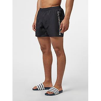 EA7 Emporio Armani Mens Side Logo Swim Shorts - Black