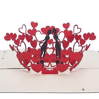 Cardology Women Kissing Pop Up Card