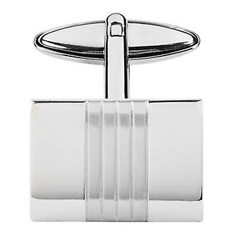 Orton West Middle Stripe Rectangle Cufflinks - Silver