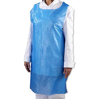 """Pack of 100 Simply Direct Blue Poly Polythene Disposable Aprons (107cm x 69cm - 42"""" x 27"""")"""