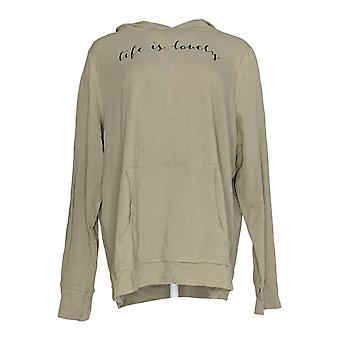 Anybody Women's Top Cozy Knit Jersey Message Hoodie Tee Green A292755