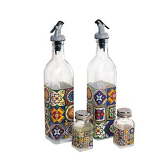 Talevera Oil and Vinegar Salt and Pepper Set
