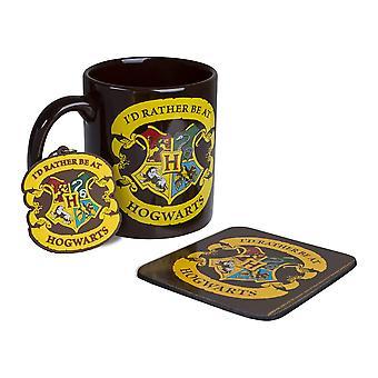 Harry Potter Rather be ve společnosti Bradavice Hrnek, Coaster & Keychain Gift Set