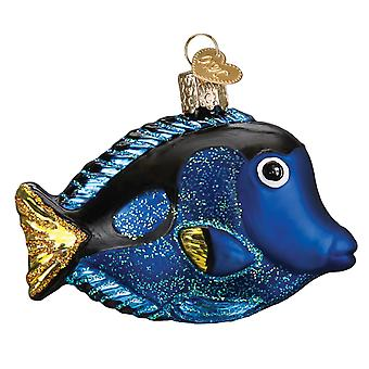 Old World Christmas Pacific Blue Tang Tropical Fish Holiday Ornament Blown Glass