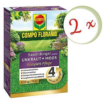 Sparset: 2 x COMPO Floranid® Rasendünger gegen Unkraut + Moos Komplettpflege, 2,25 kg