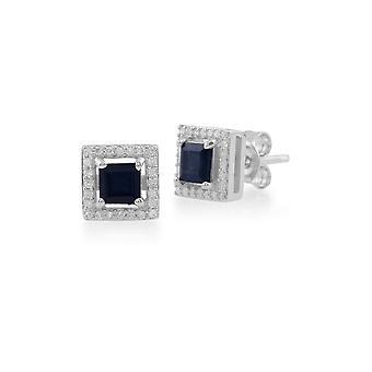 9ct oro blanco 0.68ct zafiro y diamantes pendientes de perno cuadrado 162E0105019