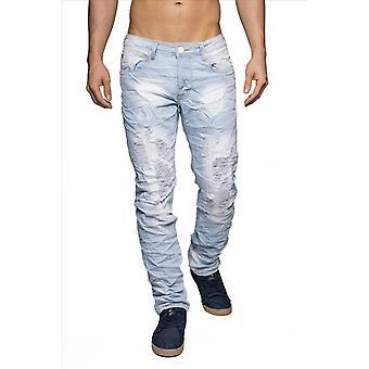Men destroyed denim jeans light blue skull torn distressed brand 100% cotton