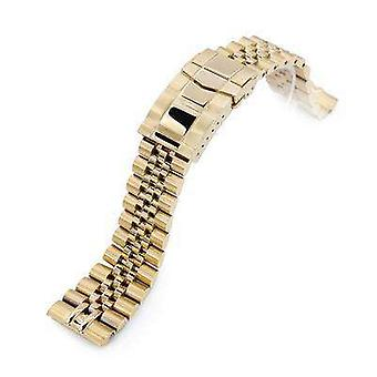 Strapcode watch bracelet 22mm super 3d jubilee 316l stainless steel watch bracelet for seiko gold turtle srpc44, submariner clasp full ip gold