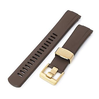 Strapcode rubber watch strap 22mm crafter blue - brown rubber curved lug watch band for seiko gold turtle srpc44, ip gold buckle