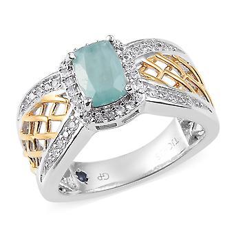 Halo Grandidierite Ring Silver Platinum Plaqué Blue Sapphire, Zircon cambodgien