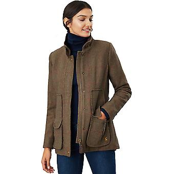 Joules Womens Fieldcoat Fitted Heritage Inspired Tweed Coat