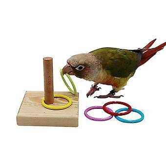 Wooden Bird Parrot Platform Plastic Ring Intelligence Training Chew Toy