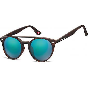 Zonnebrillen Unisex Panto Flamed Brown/Turquoise (MS49)