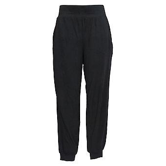 Anybody Women's Pants Regular Cozy Knit Ribbed Joggers Black A365604