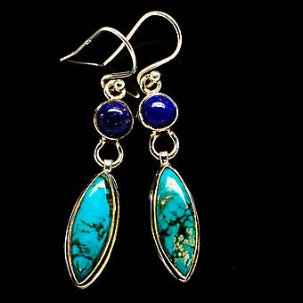 "Blue Copper Composite Turquoise, Lapis Lazuli Earrings 1 3/4"" (925 Sterling Silver)  - Handmade Boho Vintage Jewelry EARR406153"