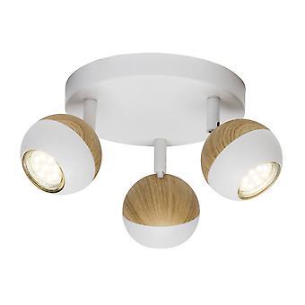 BRILLIANT Lampada Scansione LED Spotrondell 3flg bianco / legno luminoso Lampade riflettore a LED 3x 3x, GU10, 3W incluse, (250lm,
