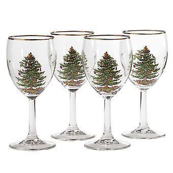 Spode juletre vinglass sett med 4